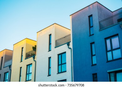 white and blue modern rowhouses at berlin