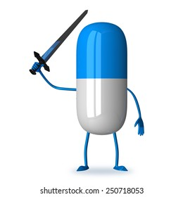 White and blue pill character with sword isolated