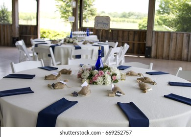 White, Blue, and Pink Wedding Table Setting