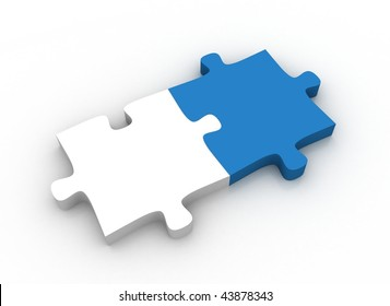 White and blue puzzle pieces