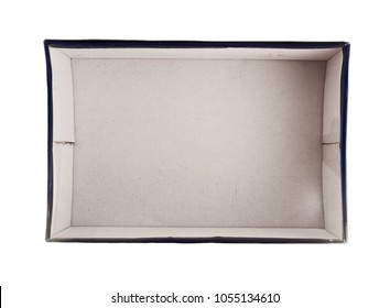 White blue and red rectangular empty open box for shoes, top view isolated on white background