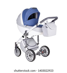 White and Blue Stroller Isolated on White. Side View of Pushchair and Carrycot with Canopy and Swivel Wheels. Baby Transport. Infant Carriage Seat. Travel System or Pram with Elevators and Raincover