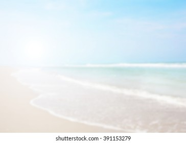 White blue surfing wave. Abstract blurred on vacation summer ocean beach background . Blue water and sky bright. Nature wallpaper blur of sea daytime. View outdoor.