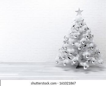 White blueish Christmast tree background