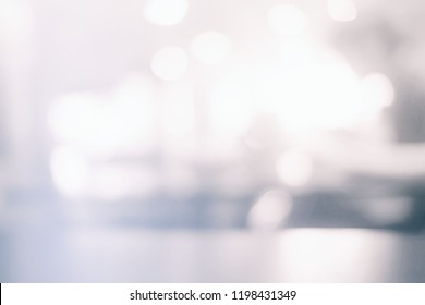 White Blurred Bokeh of Coffee Shop Background.