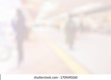 White Blurred Interior of Subway Background.
