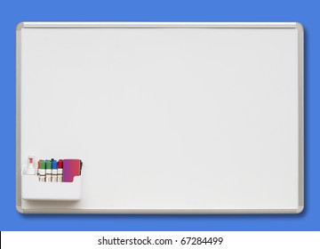 White board with colored markers, isolated with shadow and clipping path