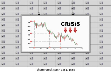 white board with drawing crisis chart on a deposit boxes background