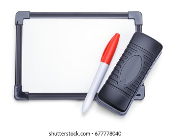 White Board with Eraser and Marker Isolated on White Background.