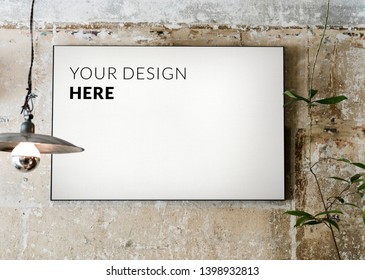 White board mockup on a grunge concrete wall