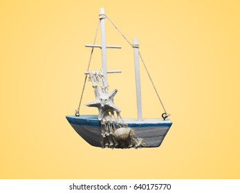 White boat model isolated on colour background.