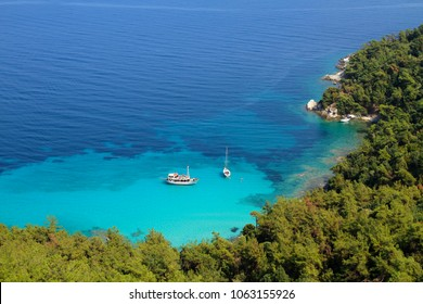 White boat and yacht, blue sea, bay and swimmers, green pine trees - idyllic summer holiday - excursion; background, copy space.