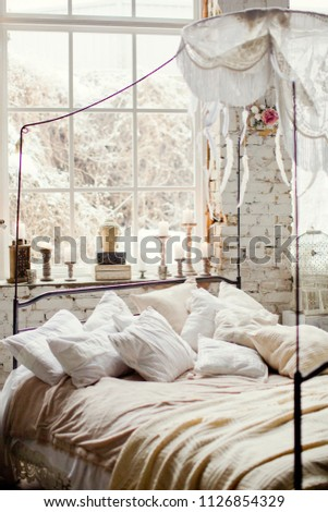 White Bohemian Bedroom Stock Photo (Edit Now) 1126854329 - Shutterstock