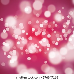White bokeh on bright pink background