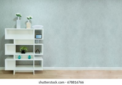 White bookcase on a bare plaster loft style background. Have a space for your text concept