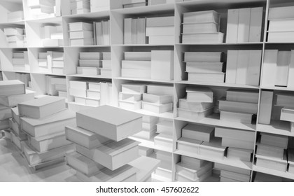 white bookshelves (illustrated concept). Knowledge idea.