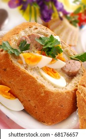 white borscht with eggs and sausage in bread bowl for easter