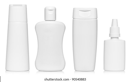 White bottles set isolated on white