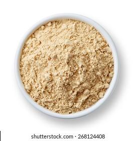 White bowl of maca powder isolated on white background