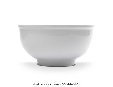 White bowl on white background. Side view of ceramic object .