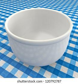White Bowl on blue towel
