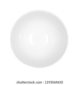 White bowl on top of an isolated white background