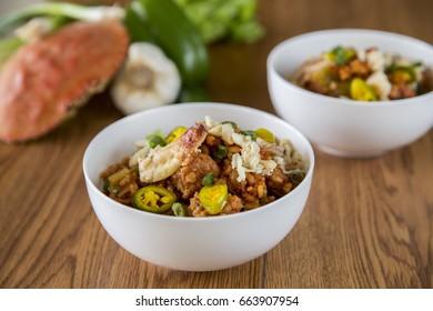 White Bowl of Spicy Seafood Jambalaya