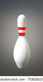 White Bowling Pin with designed with two Red Stripe isolated on a Grey  Studio Background  3D Illustration