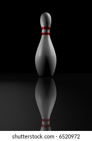 A white bowling skittle on black background - rendered in 3d