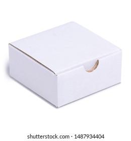 White box cardboard on white background isolation
