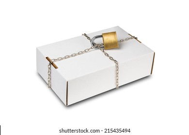 White box with chain and padlock protects its contents