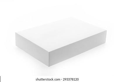 White box mock up isolated on white background