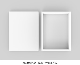 White box mockup, blank box template with separate lid in 3d rendering