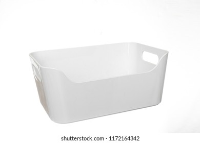 White box of plastic with handles in white bottom