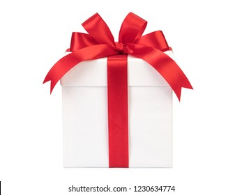 White box, red bow and ribbon isolated.