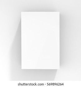White Box for T shirt, Realistic Rendering of White Flat Cardboard Box on Isolated White Background, Ready for your Design, White Box Mock Up, 3D Illustration