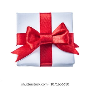 White boxed present with red knot isolated on white