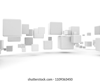 White boxes 3d cubes flying abstract conceptual digital information packets. 3D illustration