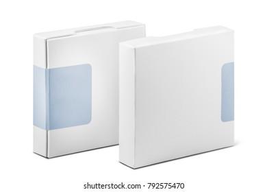 White boxes. Isolated on white background.