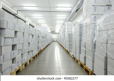 White boxes, warehouse