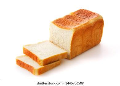 White bread on white background