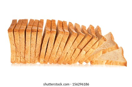 white bread on a white background, isolated
