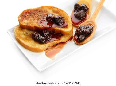 White bread toast with jam, isolated on white