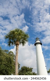 A white brick lighthouse