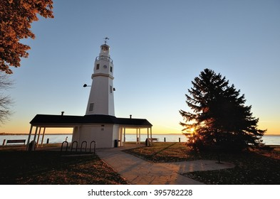 White Brick Lighthouse Located in Neenah, Wisconsin