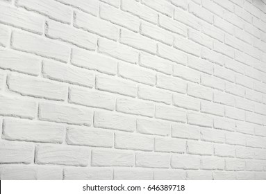 white brick wall, angle view, abstract background photo