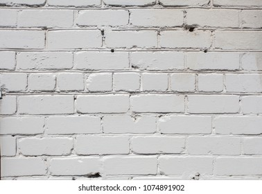 White brick wall background in rural room or fence
