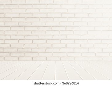 White brick wall background with wood floor foreground. gray texture stone concrete,rock,cement plaster stucco; paint pastel masonry block pattern; Construction architecture indoors design modern room