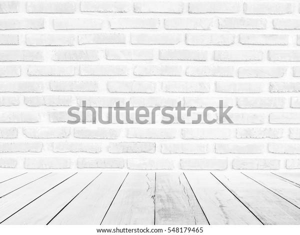 Photo De Stock De Mur En Brique Blanche Arrière Plan Bois