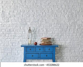 white brick wall and colorful interior design